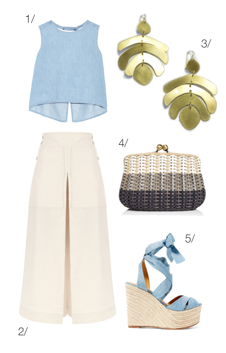 70s inspired summer style: wide leg pants, wedges, and statement earrings // click through for outfit details