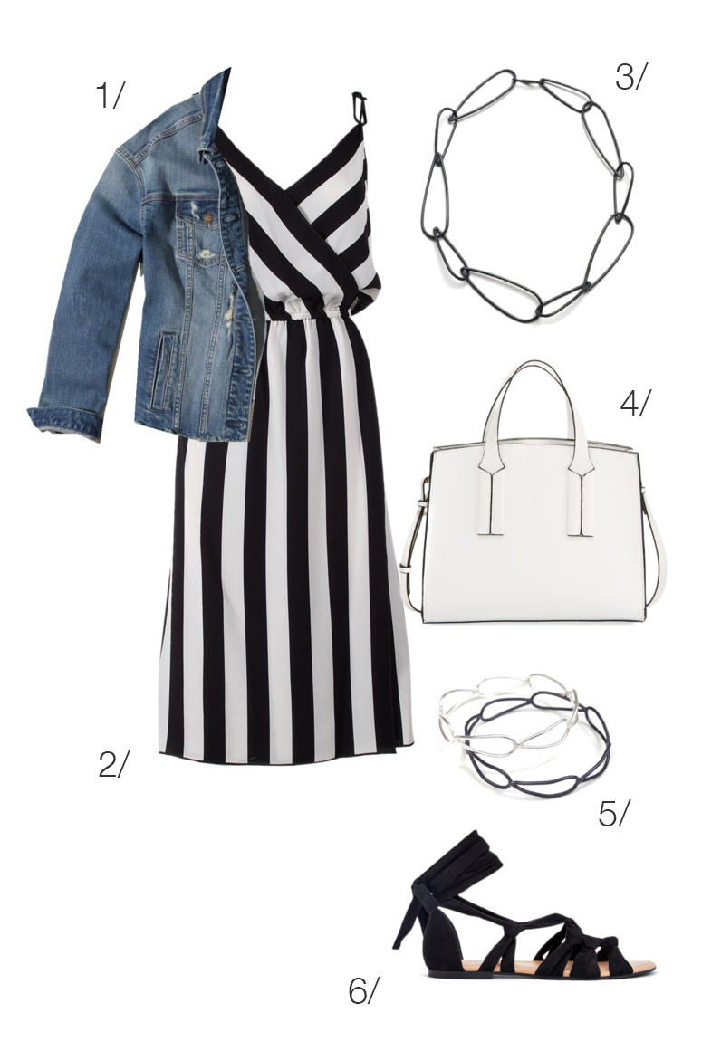 black and white striped dress with denim jacket for summer // click through for outfit details