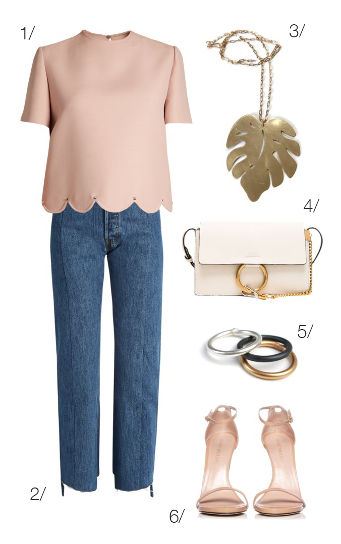 casual spring date night outfit idea: blush, denim, and heels