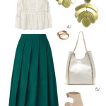 chic summer style: midi skirt, wedges, and statement earrings
