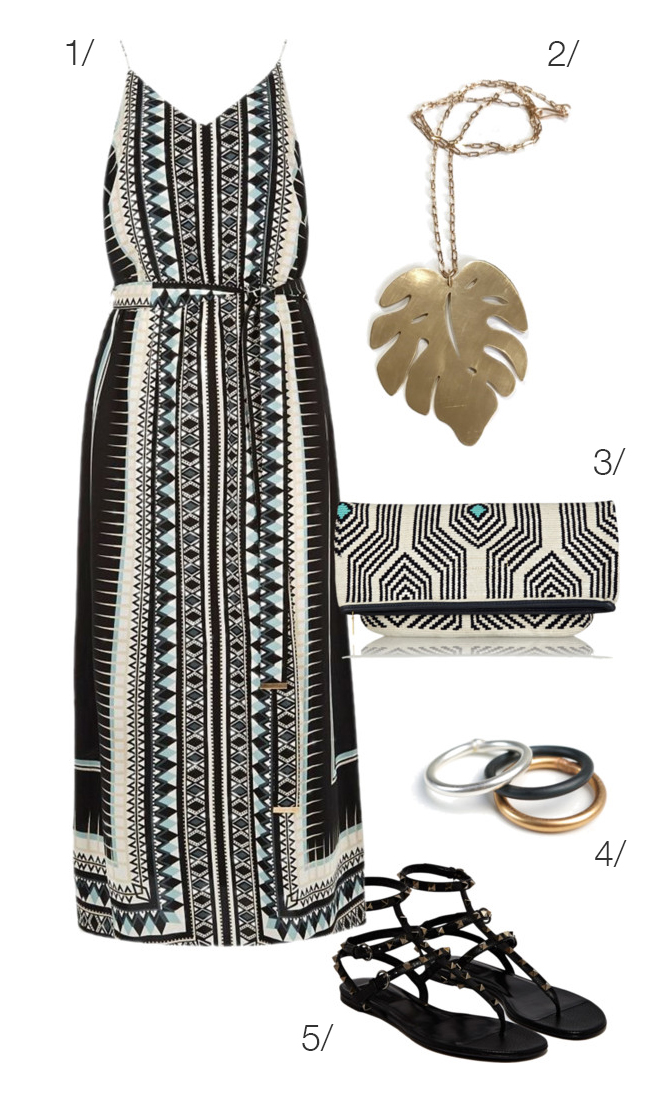 patterned maxi dress with monstera leaf long necklace - a perfect outfit for summer // click through for outfit details