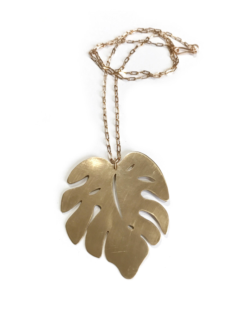monstera leaf long necklace