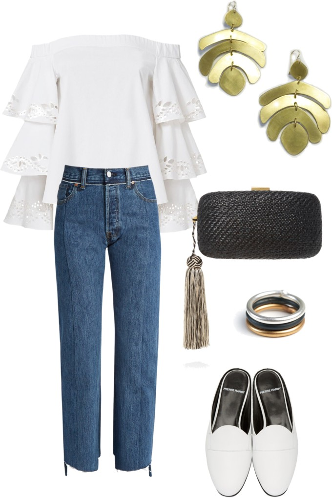 street style inspired summer 2017 trends: tiered sleeve off the shoulder blouse, raw edge high waisted denim, statement earrings, and slide mule loafers // click through for outfit details