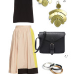 breezy summer style: colorblock skirt and statement earrings