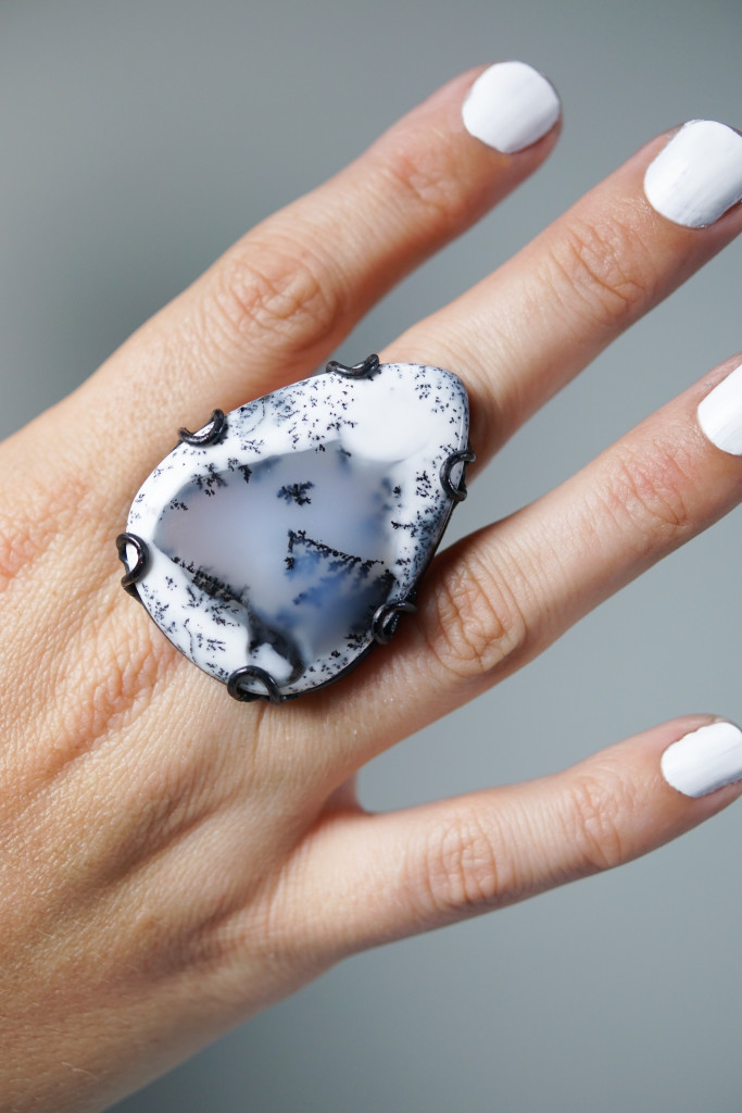 Contra ring // black, white, and grey dendritic opal handmade statement ring