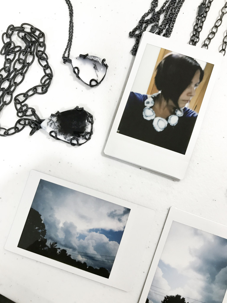 fuji instax photos - self portrait with statement necklace and clouds