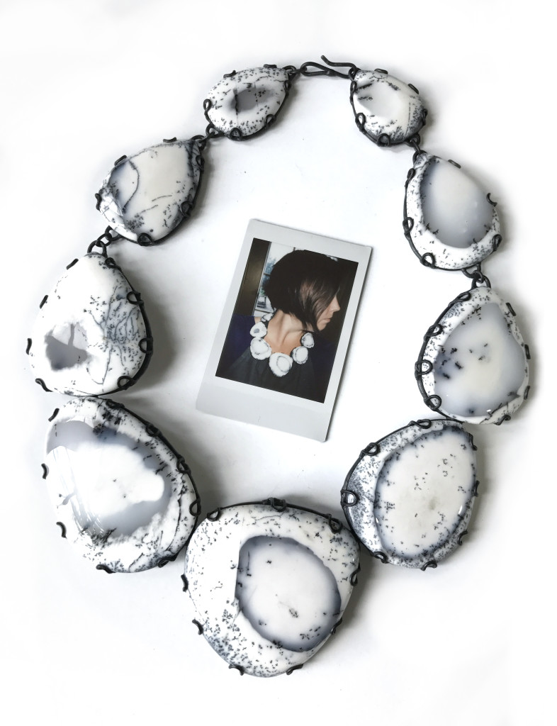 black and white stone statement necklace with self portrait