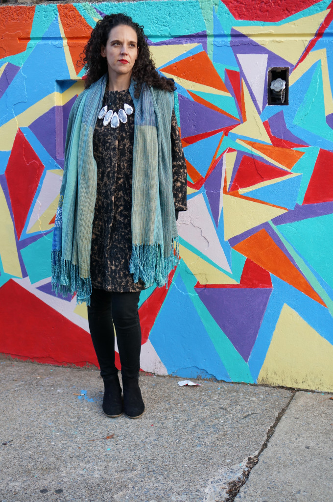 fall winter street style: scarf and statement necklace