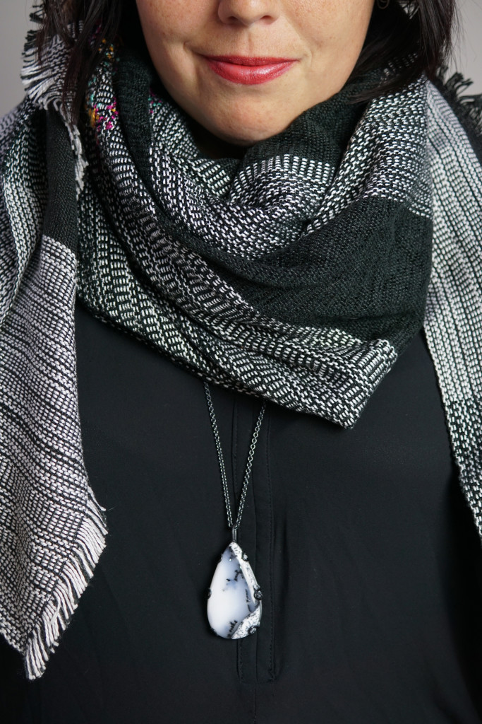 fall winter style ideas: how to wear a long necklace with a scarf