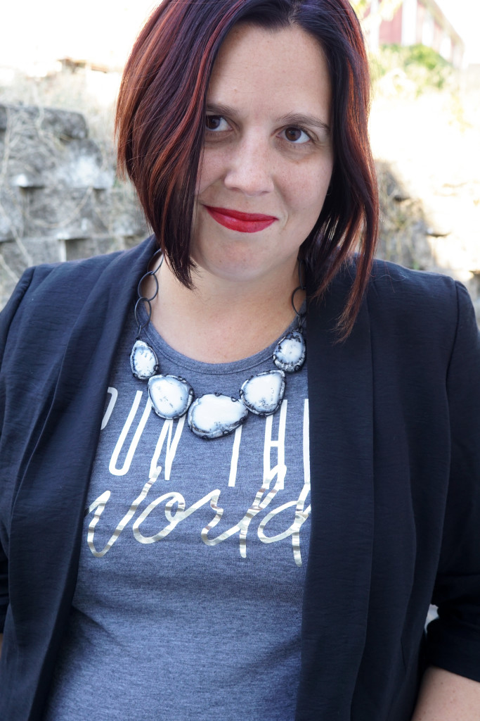 statement necklace and t-shirt with blazer