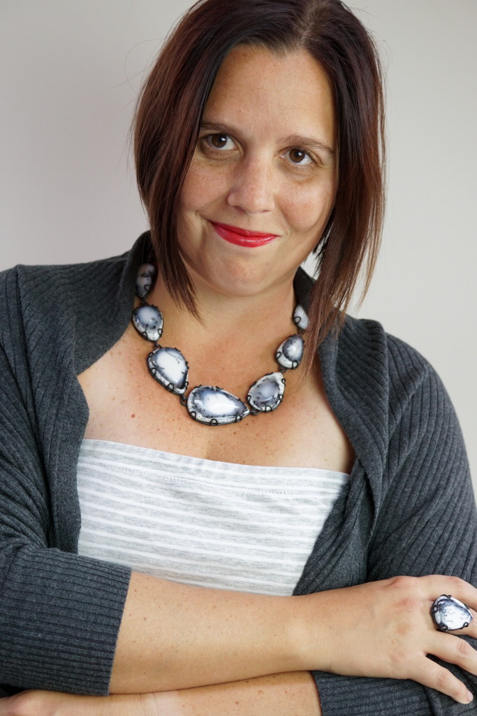 black and white gemstone necklace and statement ring