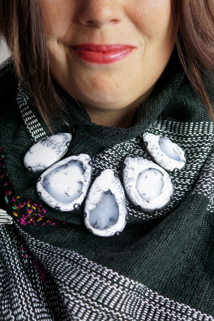 fall winter style: how to wear a statement necklace with a scarf