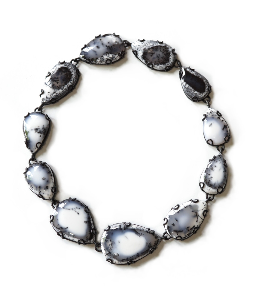 Contra Composition Necklace No. 29: black and white dendritic opal statement necklace, art jewelry handcrafted by designer and metalsmith Megan Auman