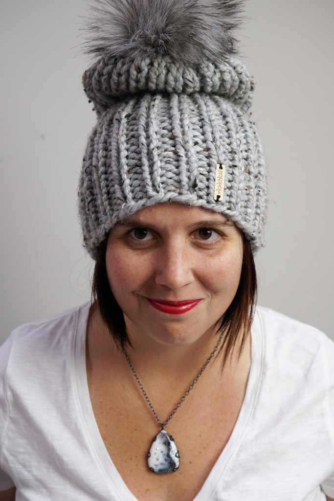 winter style: knit winter hat and snowscape inspired gemstone pendant
