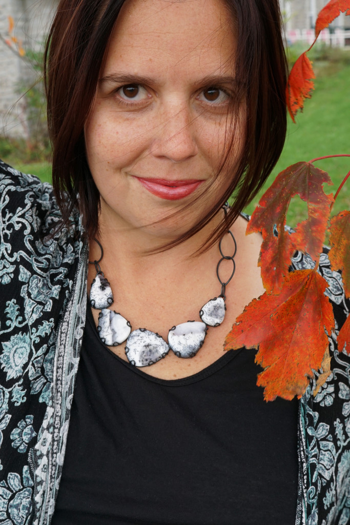fall boho style: kimono and one of a kind gemstone statement necklace