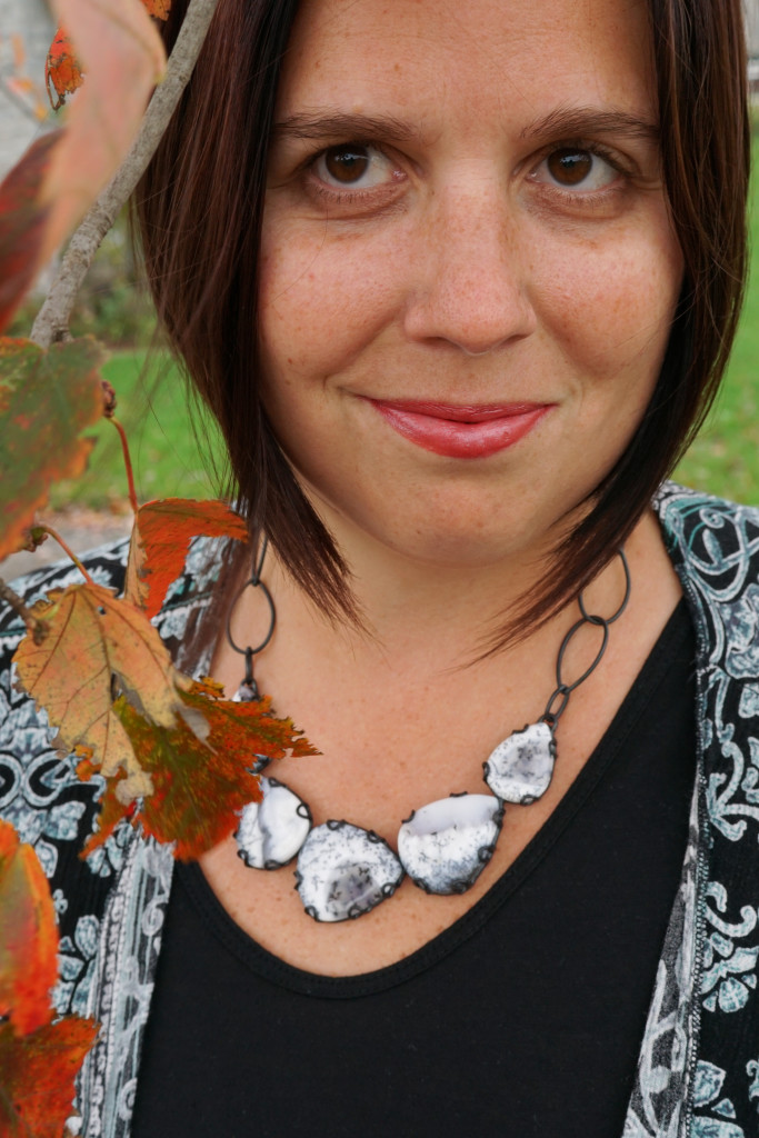 fall style fashion with one of a kind black and white handmade statement necklace