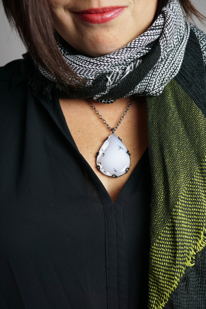 fall winter style: how to show off a pendant while wearing a scarf
