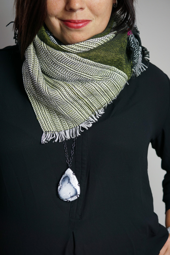 fall winter style: how to wear a long necklace with a scarf