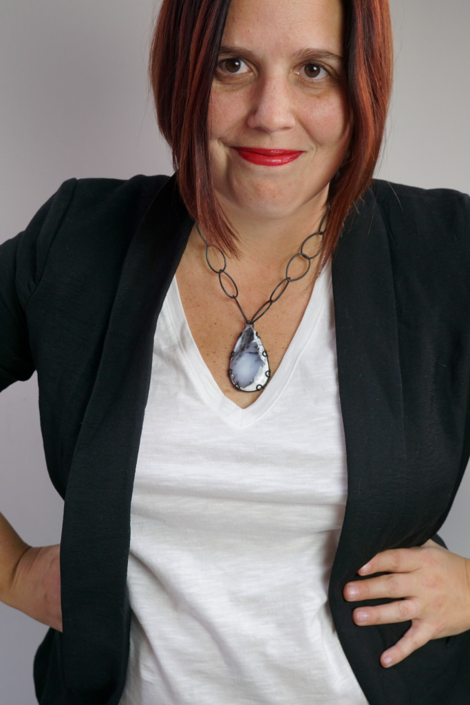 """Contra necklace - one of a kind chunky gemstone pendant 18"""" length"""