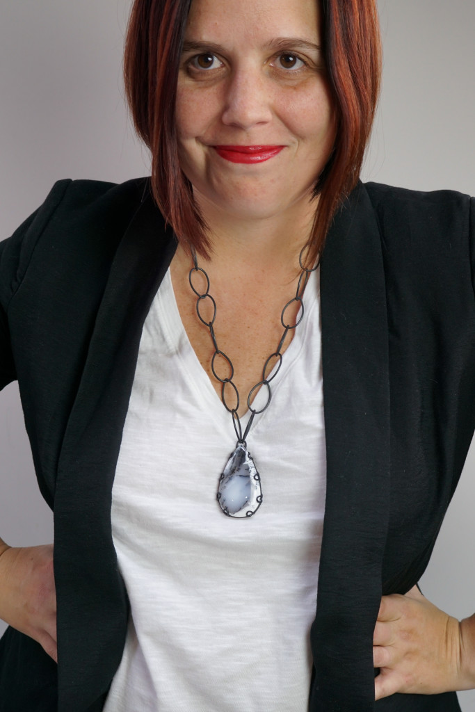 """Contra necklace - one of a kind chunky gemstone pendant 24"""" length"""