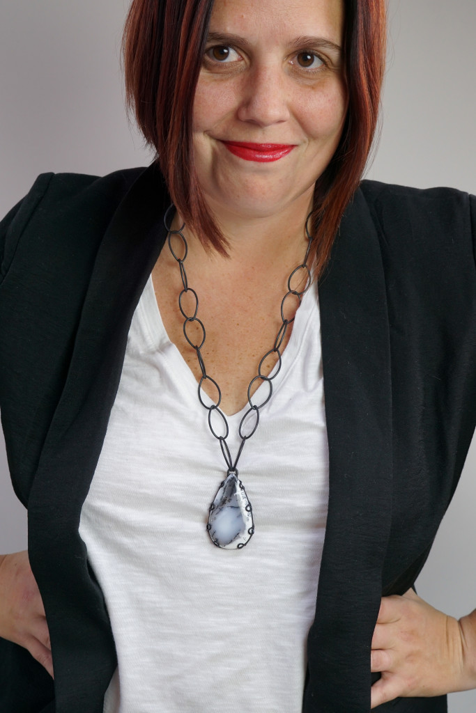 """Contra necklace - one of a kind chunky gemstone pendant 26"""" length"""