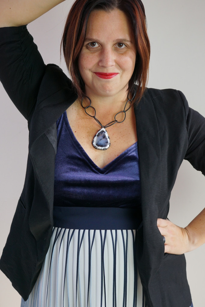holiday party outfit: navy and black with one of a kind gemstone necklace