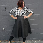 bold black and white style: midi skirt and flannel button down shirt