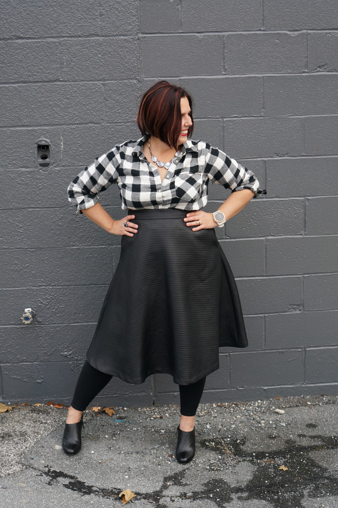 black and white style: midi skirt, plaid shirt, statement necklace