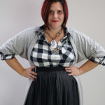 one dress challenge, day 20: grey wrap dress over black and white plaid shirt and black pleated skirt