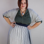 one dress challenge, day 14: grey wrap dress, green shirt dress, and pleated skirt
