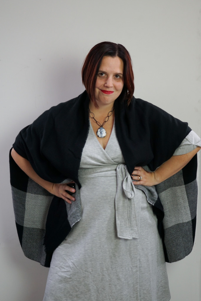 one dress, thirty ways style challenge: cozy winter style with a grey wrap dress, black shawl, and chunky gemstone necklace