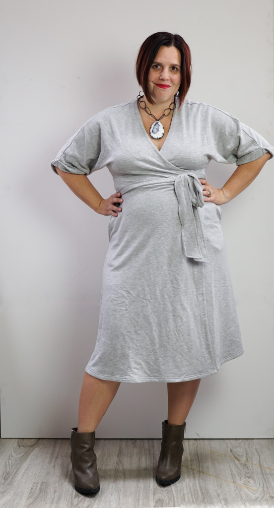 grey wrap dress, boots, chunky necklace