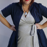 one dress challenge, day 26: navy shirt dress over grey wrap dress