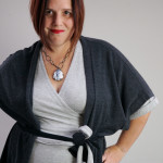 one dress challenge, day 9: grey wrap dress and oversized charcoal cardigan