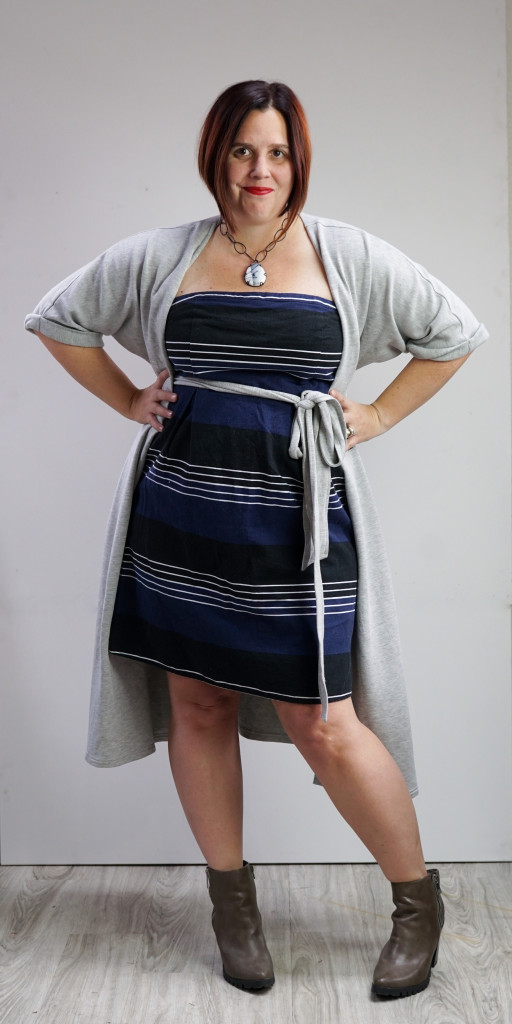 one dress, thirty ways style challenge: grey wrap dress over striped strapless dress with chunky boots