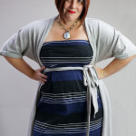 one dress challenge, day 10: grey wrap dress and black and navy strapless dress