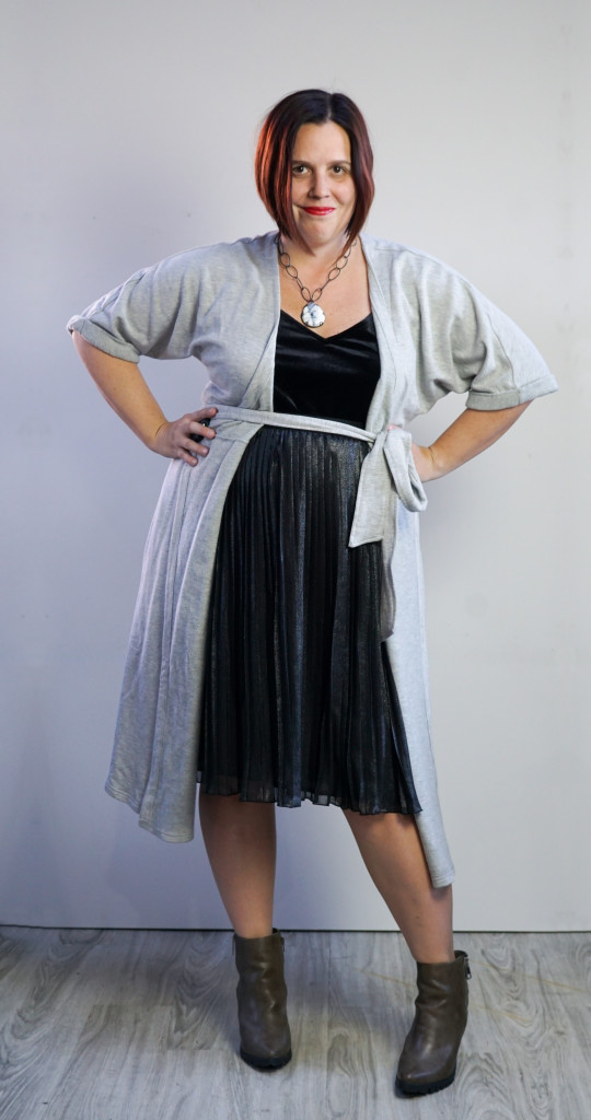 one dress thirty ways style inspiration: grey wrap dress as duster cardigan over metallic pleated skirt and velvet cami