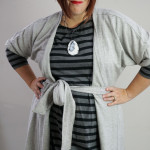 one dress challenge, day 7: grey wrap dress over black and grey striped dress