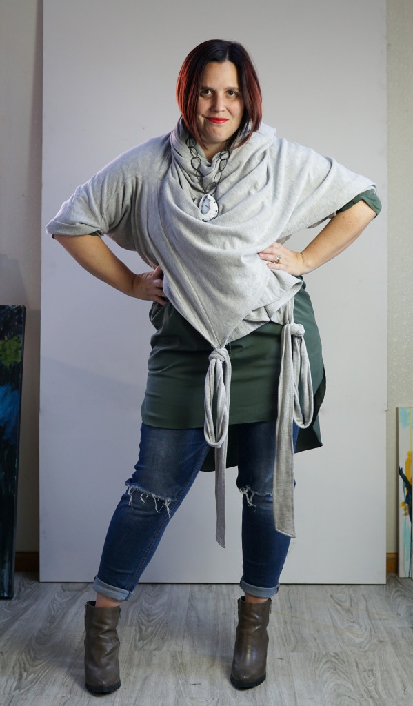 one dress thirty ways creative style challenge: wrap dress as duster over shirt dress and jeans with chunky gemstone necklace