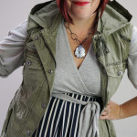 one dress challenge, day 18: grey wrap dress, striped skirt, and military vest