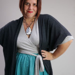 one dress challenge, day 8: grey wrap dress, charcoal cardigan, and aqua skirt