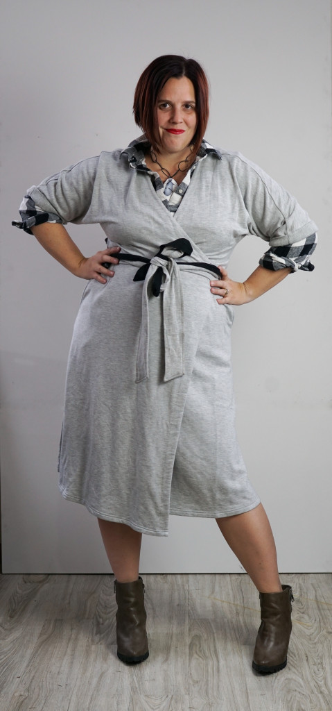 one dress thirty ways style challenge: grey wrap dress, black and white flannel plaid shirt, and chunky gemstone statement necklace
