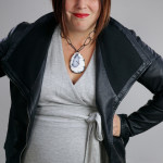 one dress challenge, day 13: grey wrap dress and faux leather jacket