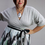 one dress challenge, day 15: pleated patterned wrap skirt over grey wrap dress (with a special styling trick)