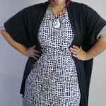 one dress challenge, day 27: oversized cardigan and printed dress over grey wrap dress