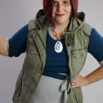 one dress challenge, day 16: military vest over grey wrap dress and teal sweater