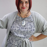 one dress challenge, day 17: grey wrap dress over white and navy printed dress