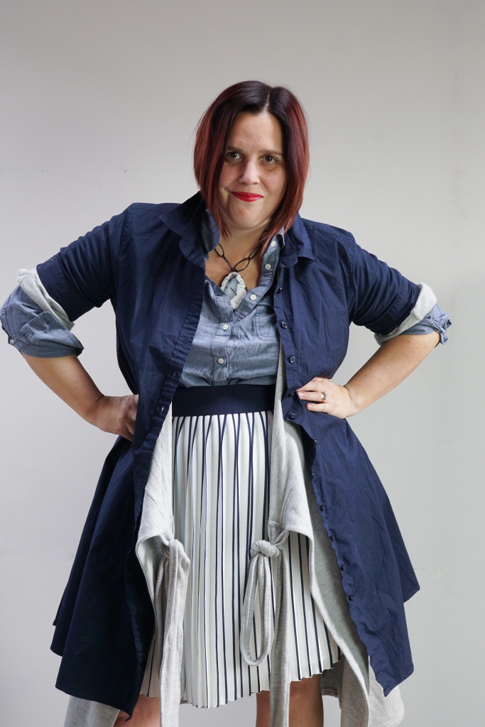 one dress thirty ways creative outfit ideas: shirt dress and wrap dress over chambray tunic and pleated skirt