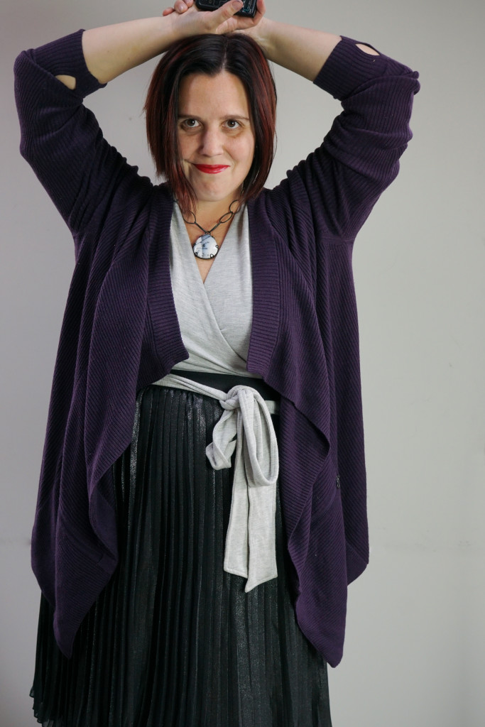 one dress thirty ways challenge, creative outfit inspiration: purple cardigan and black pleated metallic skirt over grey wrap dress