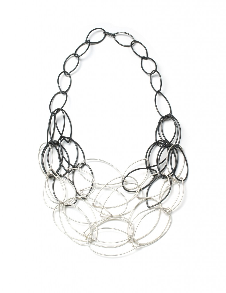 Maya necklace in steel and silver by megan auman